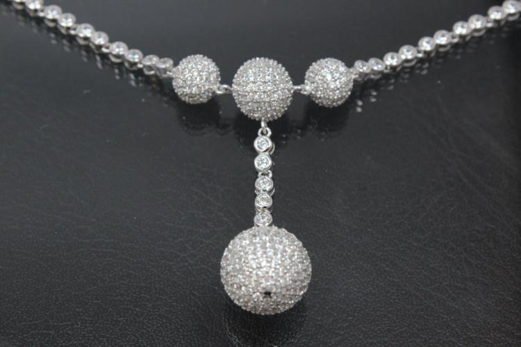 aLEm Necklace,  Lightning Planets   with white Zirconia 925/- Silver rhodium plated,