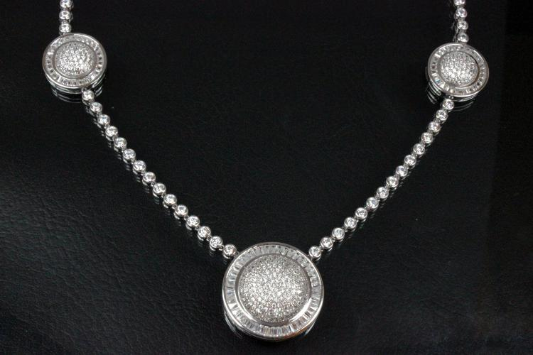 aLEm Necklace, Global World Circle with white Zirconia 925/- Silver rhodium plated,