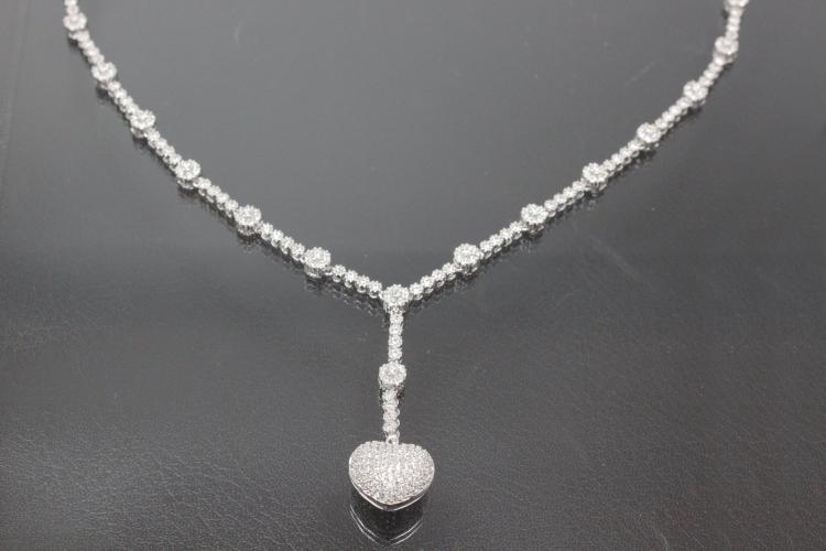 aLEm Necklace,  Endless Love  with white Zirconia 925/- Silver rhodium plated,