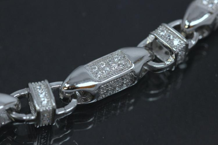 aLEm Winner Chain in Artussytyle with Clasp 925/- Silver rhodium plated,