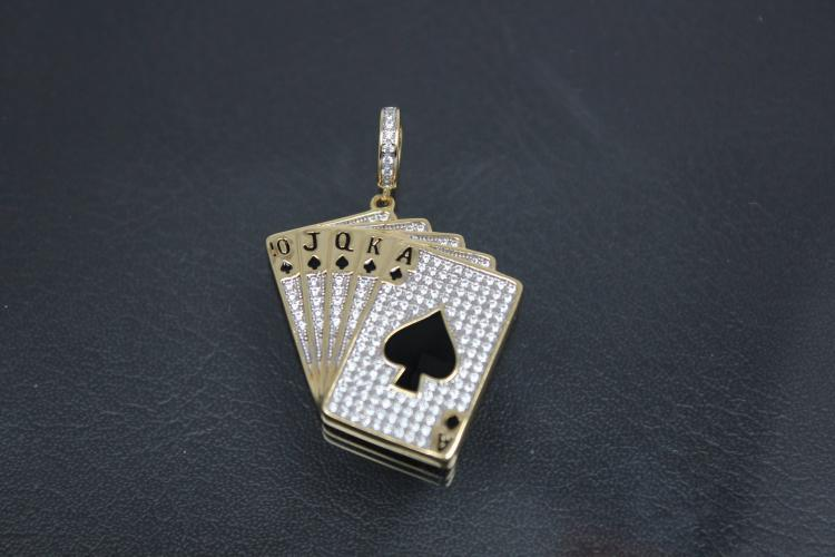 aLEm Pendant Pokerface  925/- Silver gold plated / rhodium plated with Zirconia,