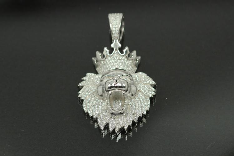 aLEm Pendant Lion with CrownLucky King with Zirconia 925/- Silver rhodium plated