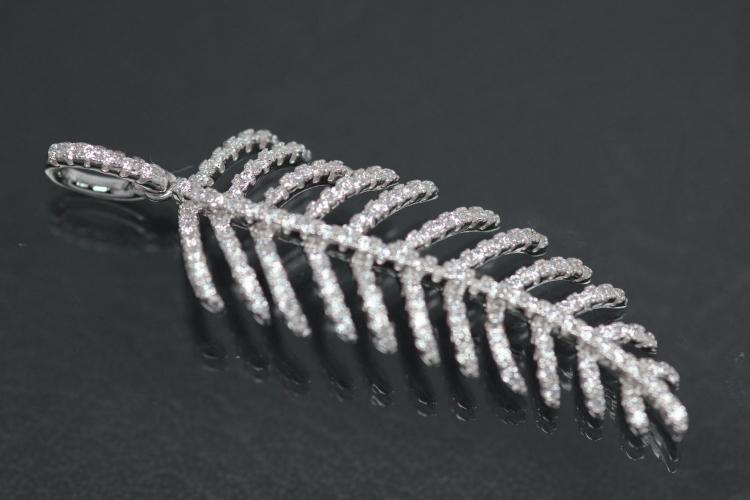 aLEm Pendant Feather of Angels 925/- Silver rhodium plated with white Zirconia,