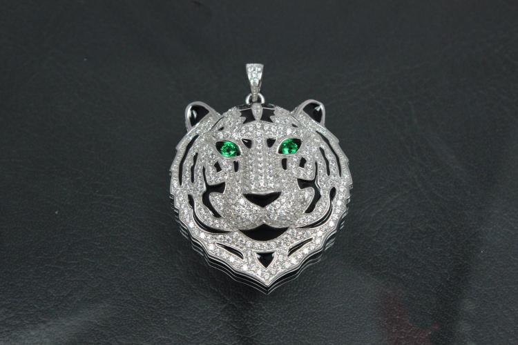 aLEm Pendant Tiger of Jungle 925/- Silver rhodium plated with white and green emerald Zirconia,
