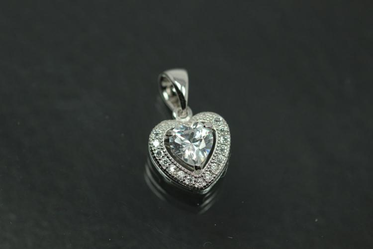 aLEm Pendant Heart Lovely Hearts 925/- Silver rhodium plated with Zirconia,
