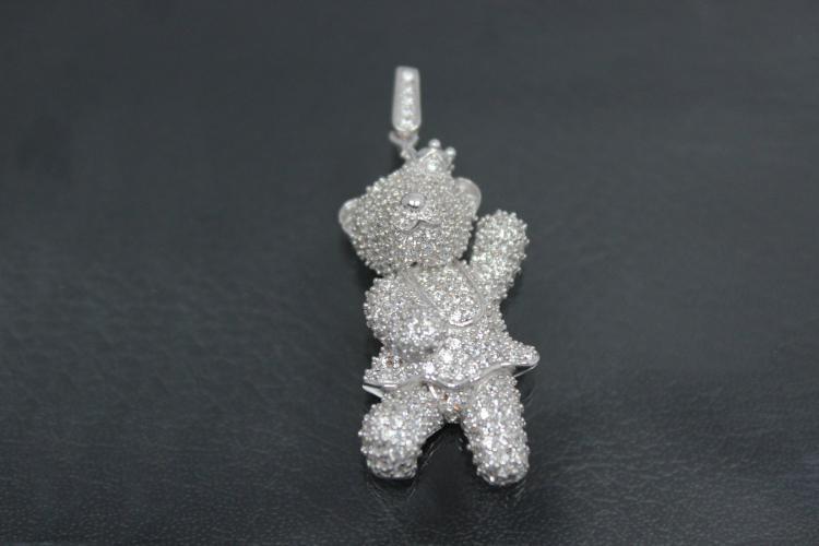 aLEm Pendant Bear Lucky Bear 925/- Silver rhodium plated with Zirconia,