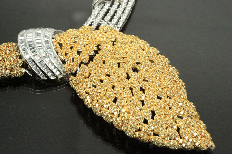 aLEm Necklace, Wedding Wing with white and yellow Zirconia 925/- Silver rhodium plated,