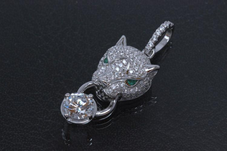 aLEm Pendant Tiger of Glory 925/- Silver rhodium plated, setted with white Zirconia,