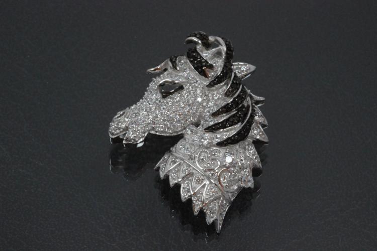 aLEm Pendant Horse Head  with white und black Zirconia 925/- Silver rhodium plated