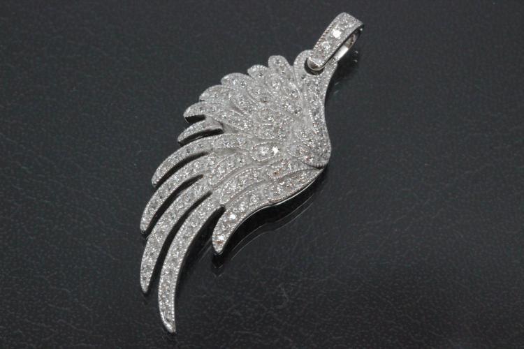 aLEm Pendant Angel Wing 925/- Silver rhodium plated,