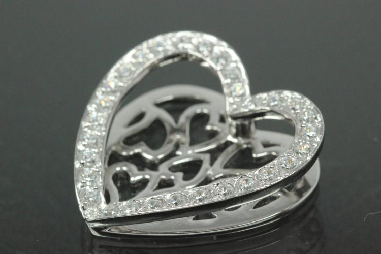 aLEm Pendant Heart of Life with Zirconia 925/- Silver rhodium plated, polished