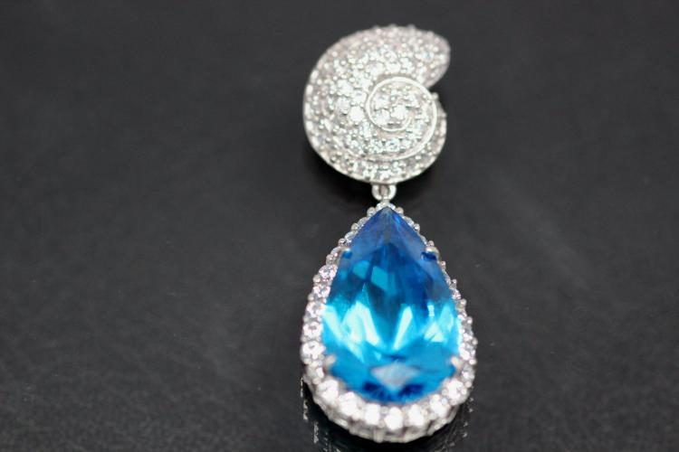 aLEm Pendant aquamarin colour faceted Teardrop and Top as a Ammonite 925/- Silver rhodium plated and white Zirconia,