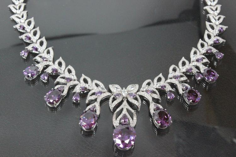 aLEm Necklace  Lily Dream  925/- Silver rhodium plated with white and amethyst color Zirconia and clasp with extension chain,