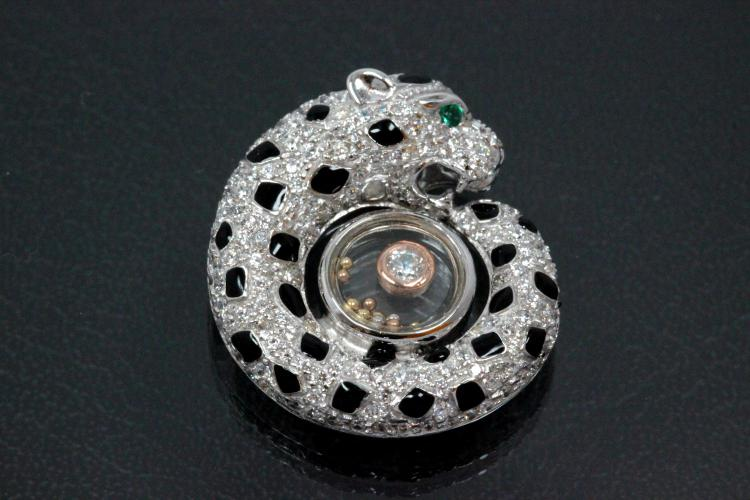 aLEm Pendant Cheetah 925/- Silver partially gold plated / partially rhodium plated, approx. size high 23,5mm incl.bail, wide 21,5mm, thickness 8,0mm,