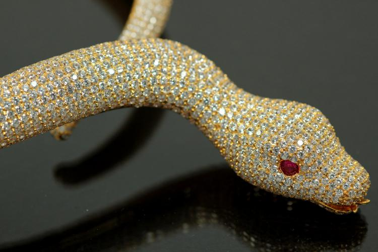 aLEm necklace Snake White Mamba 925/- Silver gold plated,body approx. Size Ø 8-16mm, head 40 x 24mm, inside neck size approx. 50cm length