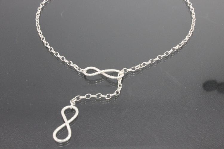 aLEm Necklace Infinity hammered 925/- Silver plated