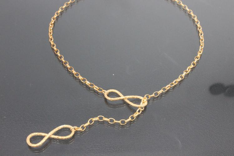 aLEm Necklace Infinity hammered 925/- Silver gold plated