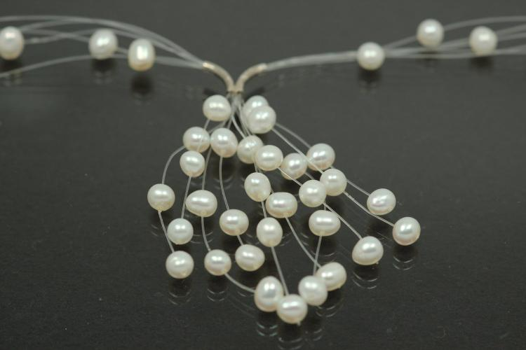 aLEm white Freshwater Pearl Necklace Summer Flair 925/- Silver rhodium plated with spring ring,