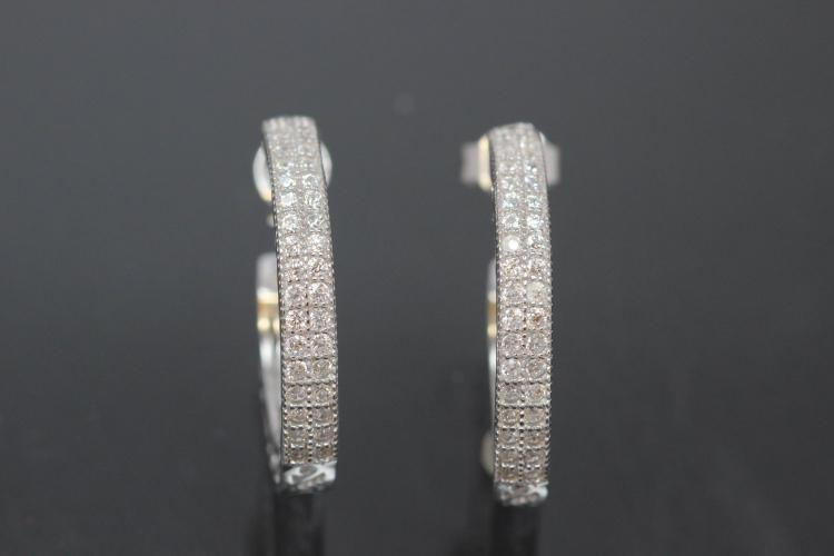 Exclusive Collection  EXCLUSIVITY by alain LE mondial   Noblesse Oblige Hoop Earring with ear post 925/- Silber rhodium plated with Zirconia approx size AØ21,7mm, IØ 15,7mm, MS 3,0mm, wide 3,2mm,Weight/pc. ca. 2,2g