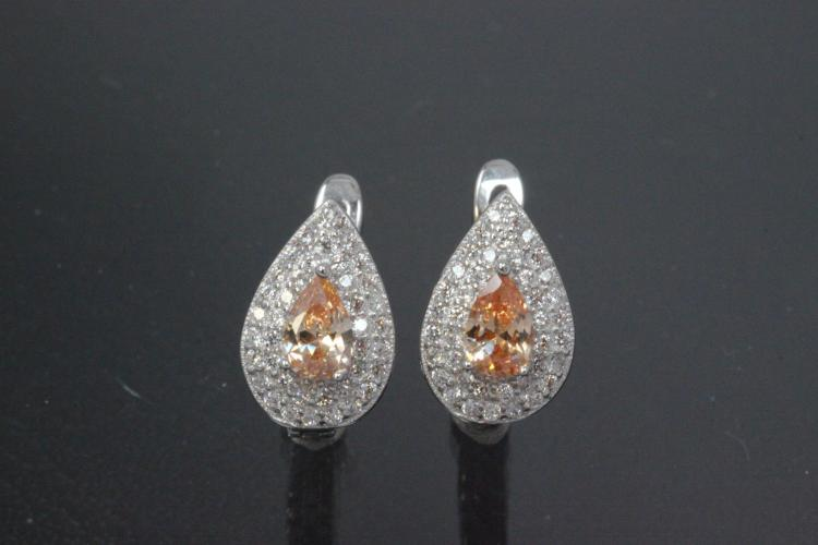 Earring Teardrop 925/- rhodium plated with Zirconia, center stone faceted campagner colour teartrop zirconia with security leverback, approx sizes  high 13,5mm, wide 8,8mm