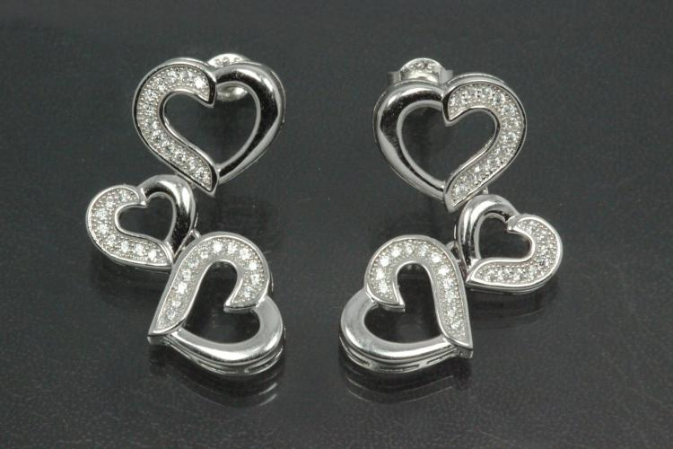 aLEm Ear post Moving Heart 925/- Silver rhodium plated with Cubic Zirconia, approx size high 28,0mm, wide 14,5mm, thickness 3,0mm,  length post 10,0mm, outside Ø0,8mm,