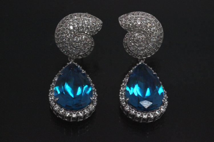 aLEm Earring Teardrop and Top as a Ammonite 925/- Silver rhodium plated with Aquamarin colour and white Cubic Zirconia, approx size.high 37,5mm, wide 13,5mm, thickness 5,5mm, with ear post.