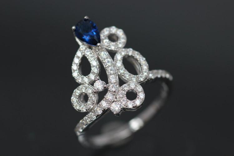 aLEm Ring  Royal Sea of Blossoms  with blue and white Zirconia 925/- Silver rhodium plated