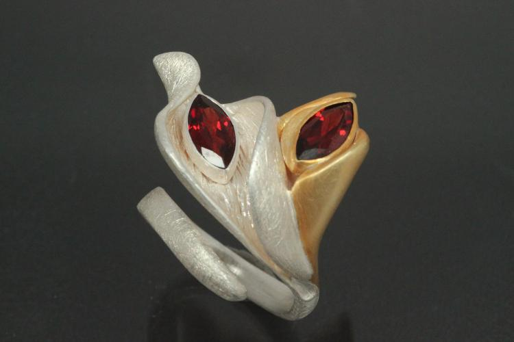 aLEm Ring Blossoms  Calla by alain LE mondial 925/- Silver and partially gold plated with two marquise garnet,