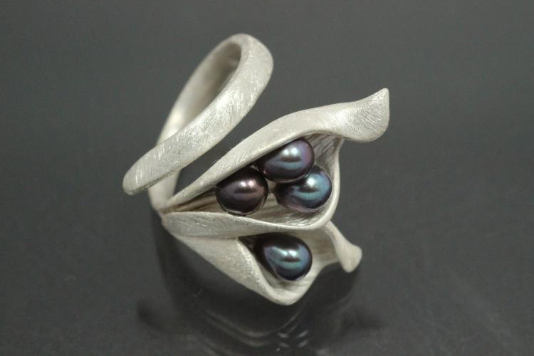 aLEm Ring Blossoms  Calla by alain LE mondial 925/- Silver with four Freshwater pearls (FWP) -peacock,