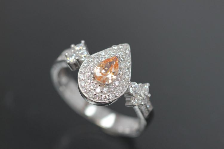 aLEm Ring  Teardrop of the Sun  with champagne color and white Zirconia 925/- Silver  rhodium plated
