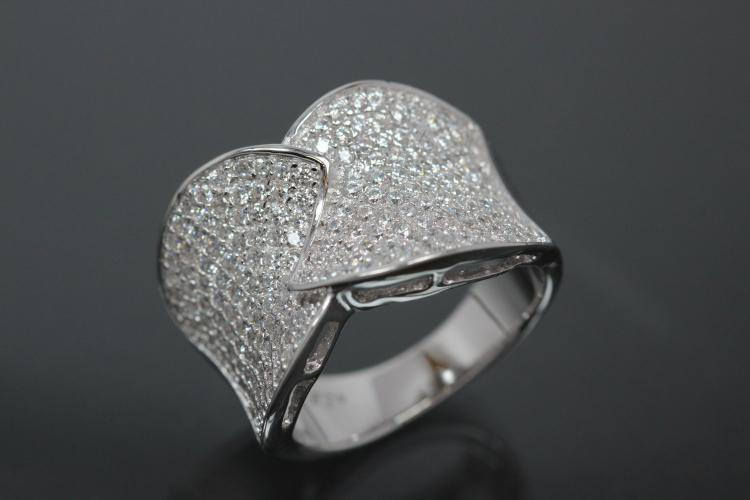 aLEm Ring Sparkling Leafs 925/- Silver rhodium plated, with white Cubic Zirconia