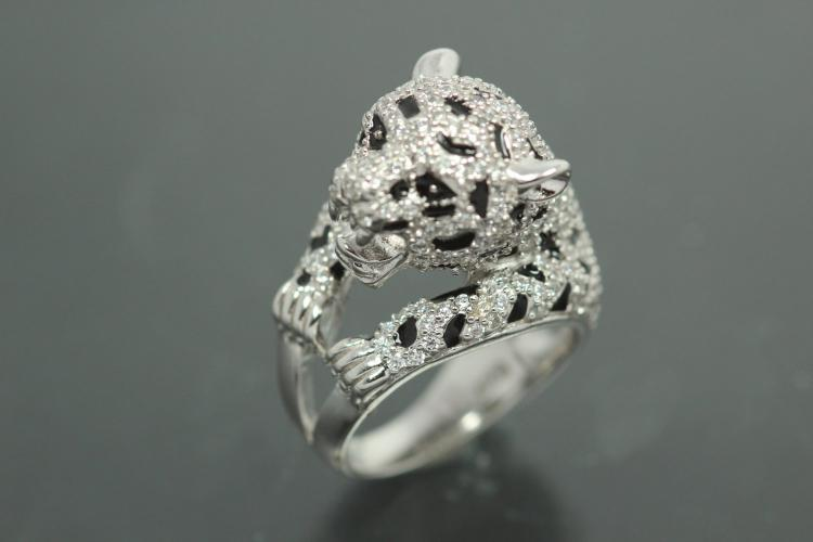 aLEm Ring Wild Roaring Cheetah 925/- Silver rhodium plated, with white Cubic Zirconia