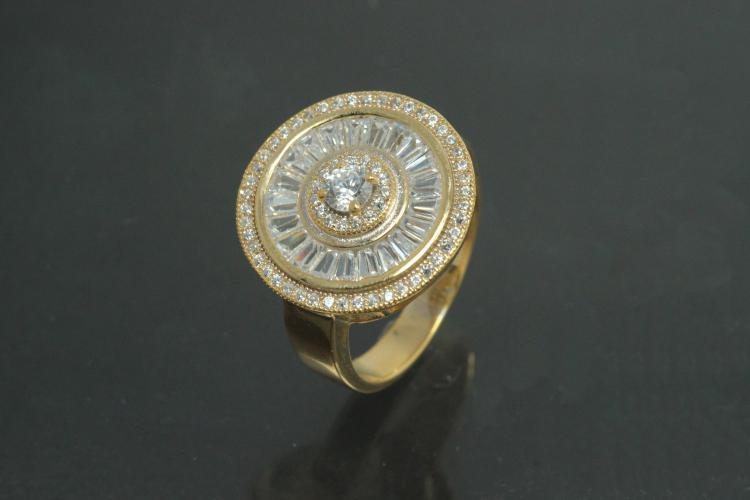 aLEm Ring Global World Circle 925/- Silver gold plated, with white Cubic Zirconia