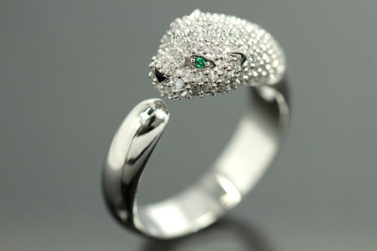 aLEm Ring Black Cougar 925/- Silver rhodium plated, with white/green Cubic Zirconia