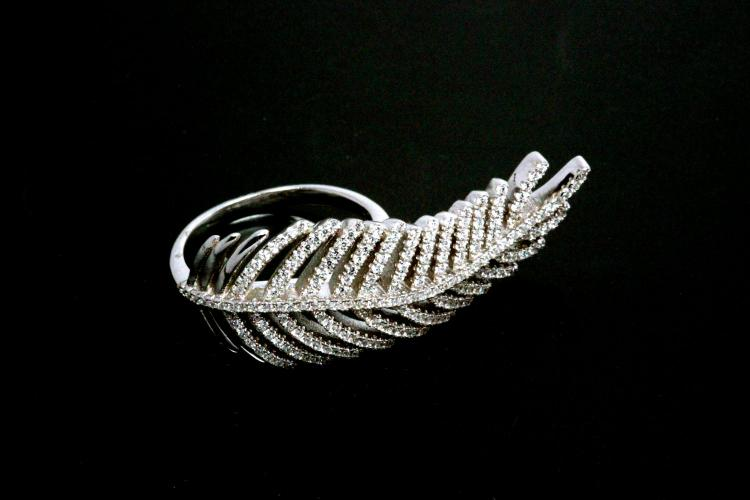 aLEm Ring Lovely Feather of Angels 925/- Silver rhodium plated with white Zirconia