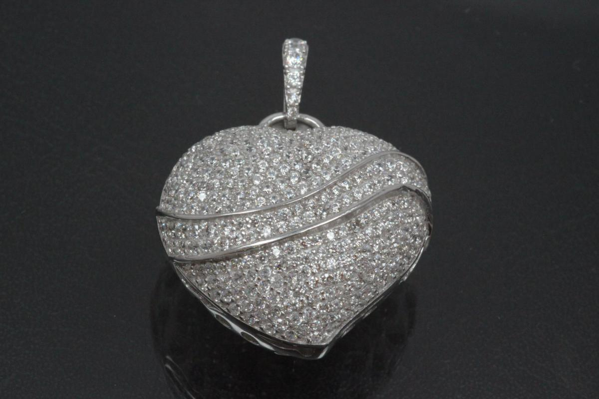 aLEm Pendant Heart Lovely Heart with Zirconia 925/- Silver rhodium plated,