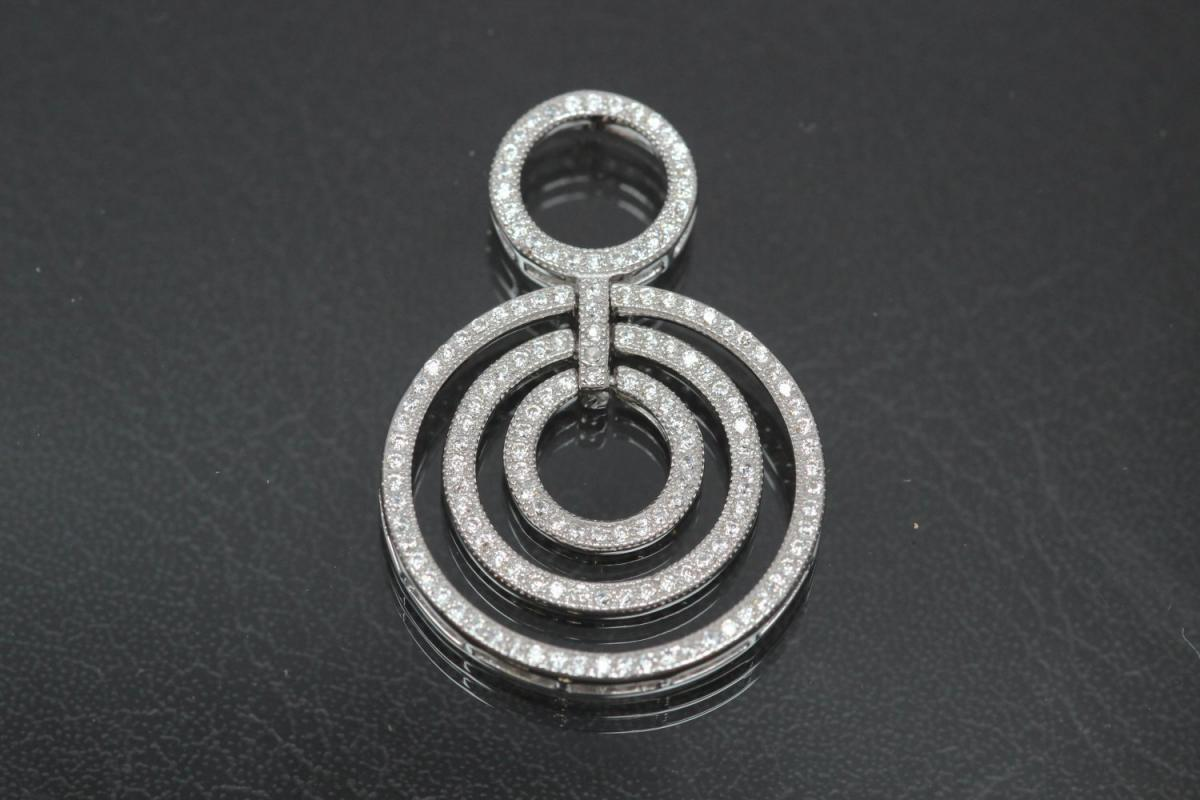 aLEm Pendant Fire Circle with Zirconia 925/- Silver rhodium plated,