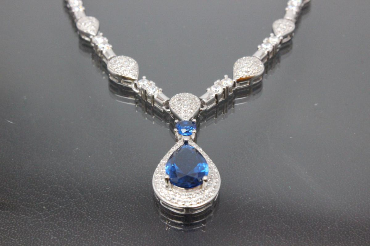 aLEm necklace  Teardrop of the Midnight  with sapphire color and white Zirconia 925/- Silver  rhodium plated with trigger clasp
