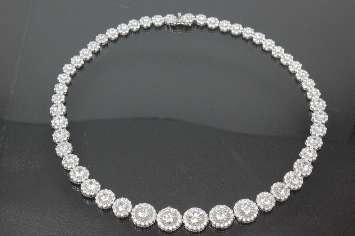 aLEm neacklace white Zirconia 925/- Silver  rhodium plated approx.size length 43,0cm incl. Bolt clasp with security eigth