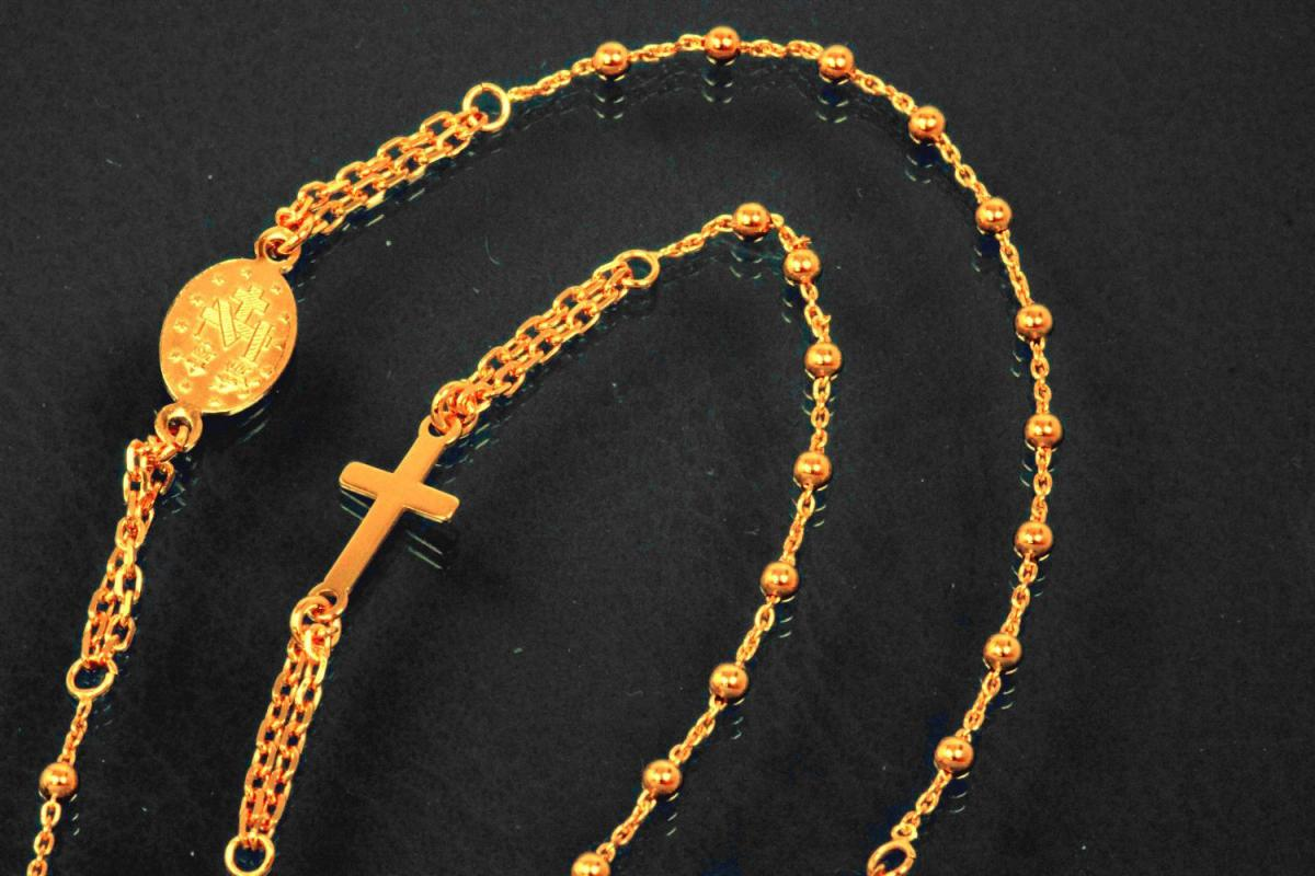 aLEm Lifestyle - chain with cross and medal 925/- silver rosé gold plated with spring ring