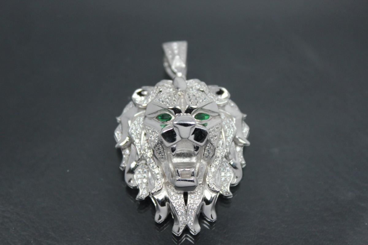 aLEm Pendant Lion King of the Steppe 925/- Silver rhodium plated with white and green emerald Zirconia,