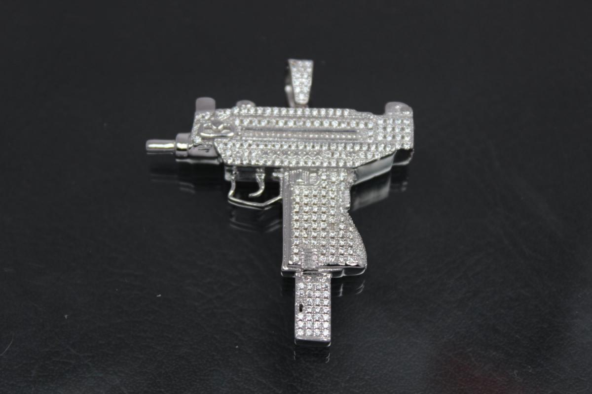 aLEm Pendant Machine Gun 925/- Silver rhodium plated with Zirconia,