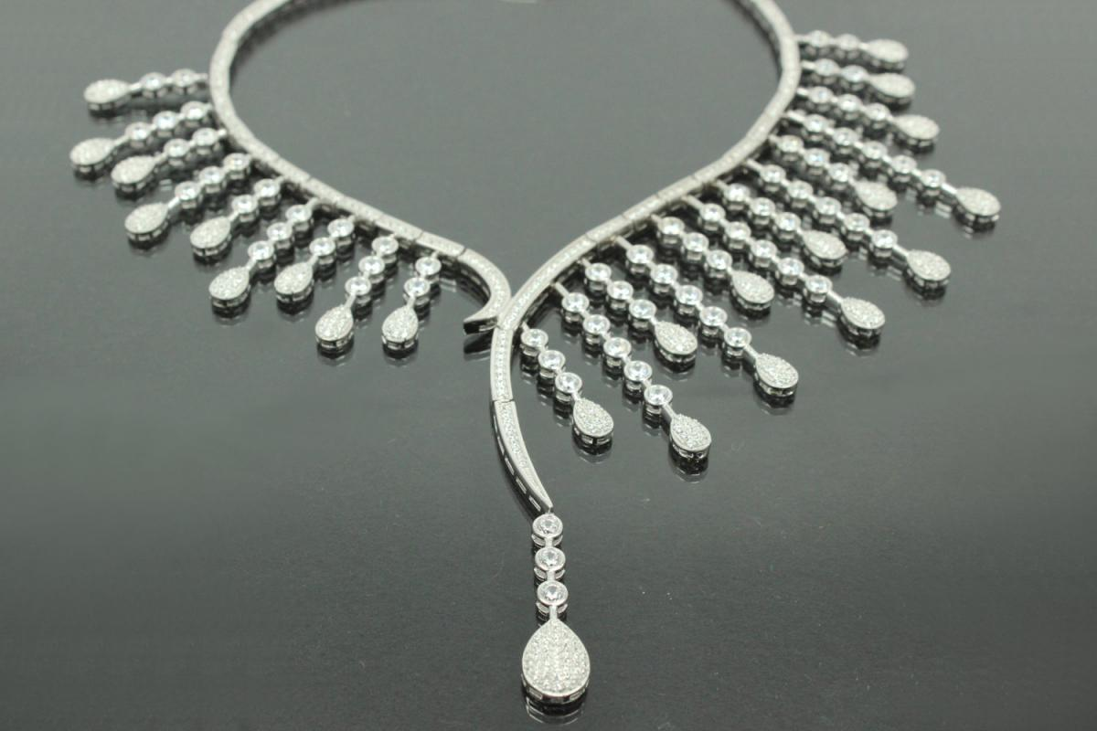 aLEm Necklace, Drops of Love with white Zirconia 925/- Silver rhodium plated,