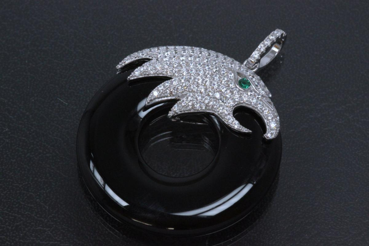 aLEm Pendant Hawk of Air 925/- Silver rhodium plated setted with white Zirconia,