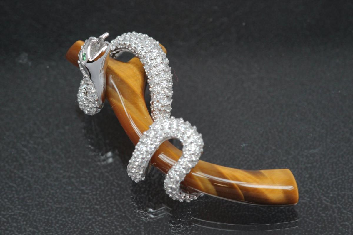 aLEm Pendant Snake Anakonda am Tree trunk Gemstone Tigereyes 925/- Silver rhodium plated with Zirconia