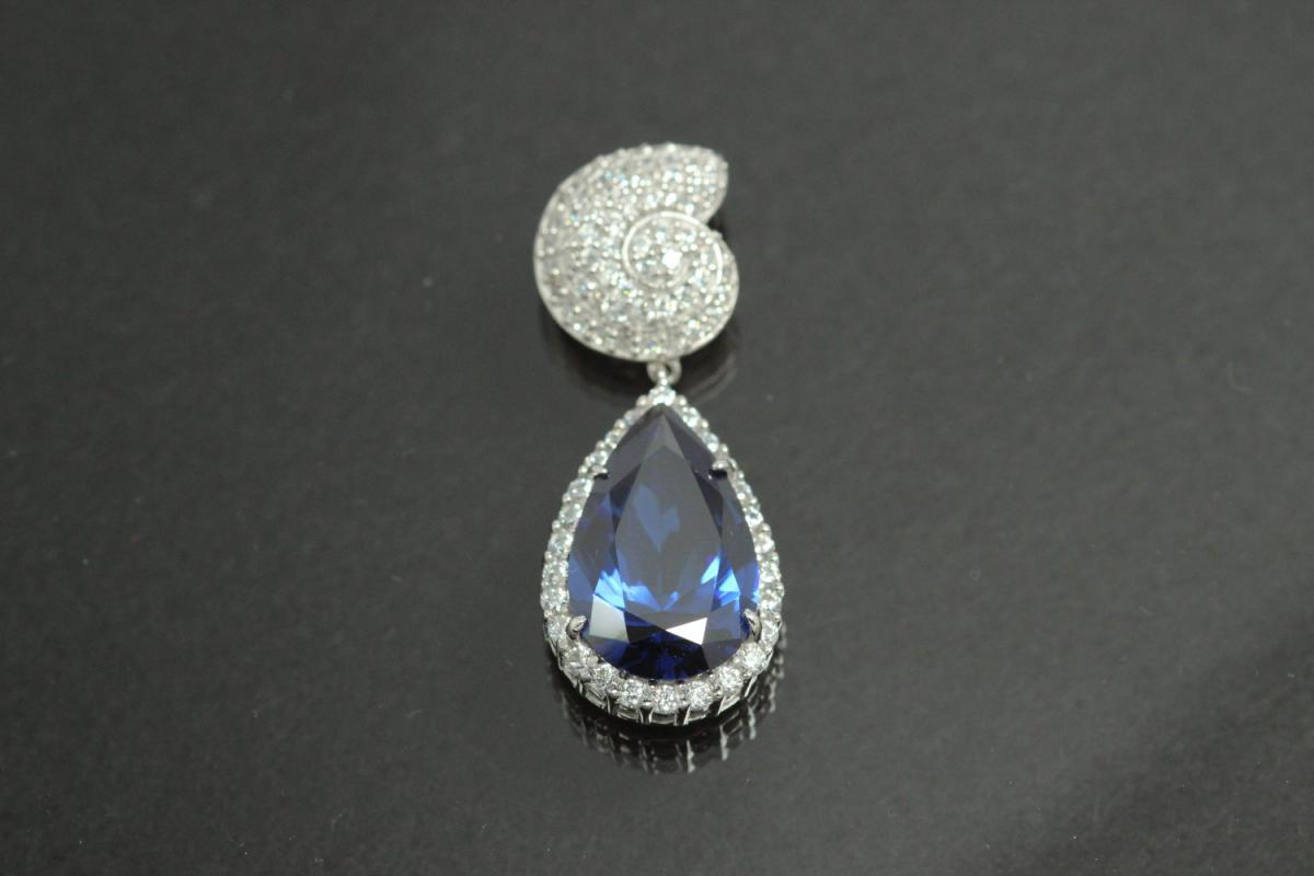 aLEm Pendant tanzanit colour faceted Teardrop and Top as a Ammonite 925/- Silver rhodium plated and white Zirconia