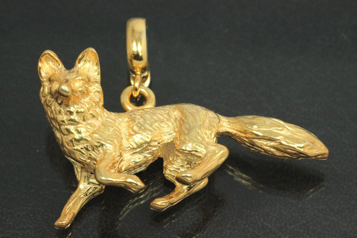 aLEm Pendant Fox with openable bail 925/- Silver gold plated