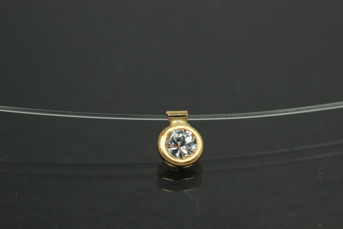 aLEm Nylon necklace Flying Stone 750 gold stone setting and spring ring clasp with Zirconia ,