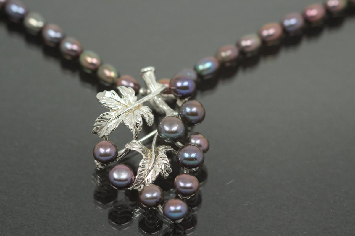 aLEm Freshwater Pearl Necklace Autumn Dream 925/- Silver rhodium plated with trigger clasp,