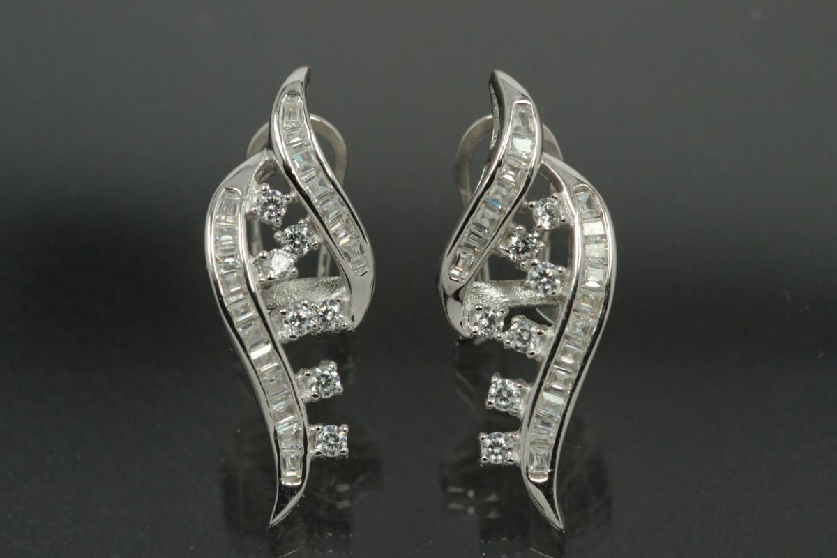 aLEm Ear post with security omega clip Wild Wave 925/- Silver rhodium plated with Cubic Zirconia,approx size high 29,6mm, wide 11,2mm, thickness 5,5mm,  length post 10,0mm, outside Ø0,8mm,